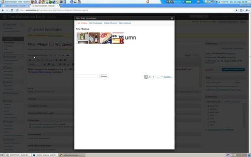 screenshot wordpress flickr plugin