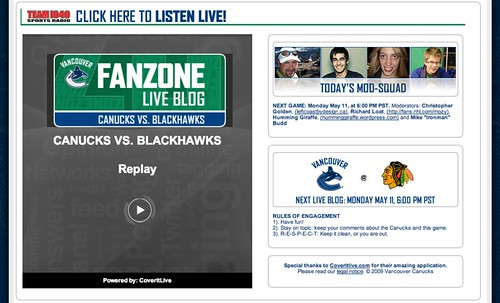 Canucks FanZone Live Blog Mods