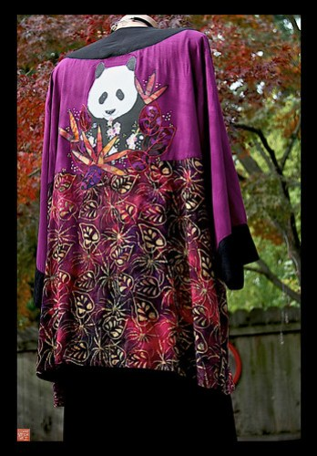 Panda Batik Jacket by Sandra Miller back view