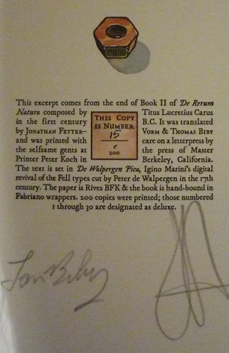 Colophon page - dig the signatures, and note that the stuff in color was done... wait for it... by HAND