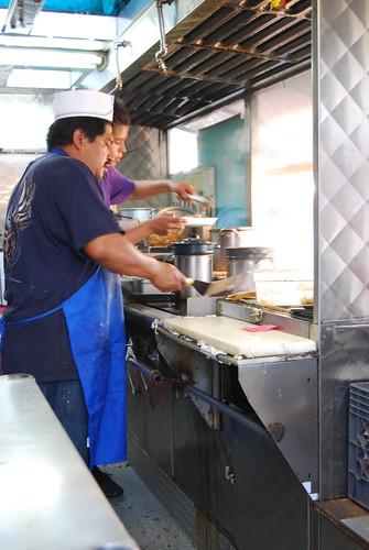 Taco truck cooks