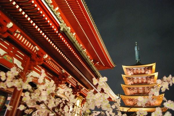 La pagoda del Sensō-ji de noche