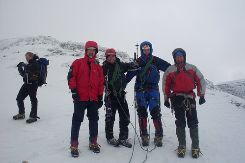 The team, totally ecstatic after a wonderful climb