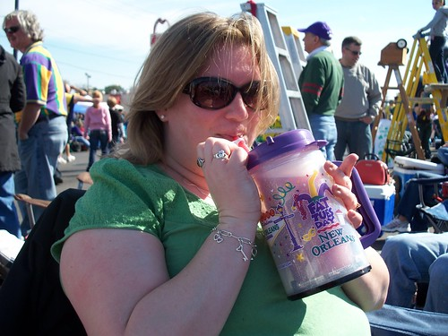 The essence of Mardi Gras: sitting in the middle of one of the busiest intersections in Jefferson Parish at 10 a.m. drinking a Daquiri. Erin was in bliss.