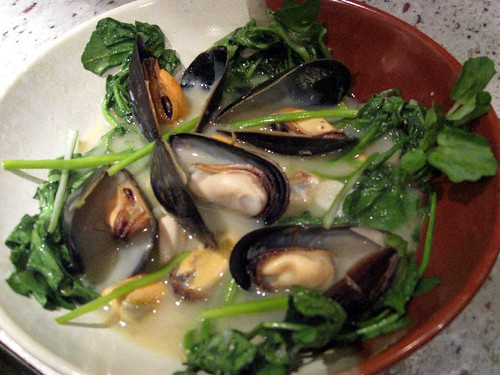 Mussels steamed in Sake and Miso