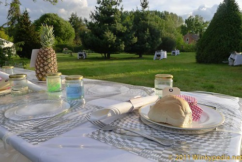 Dining with Alice, in beautiful garden of Elsing Hall