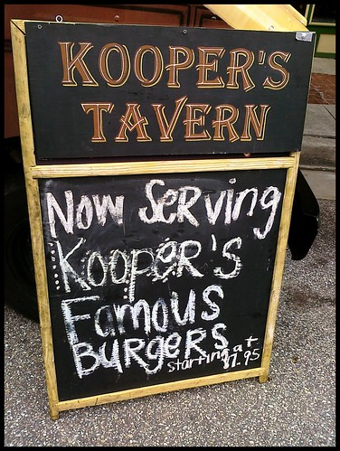 Now Serving Kooper's Famous Burgers