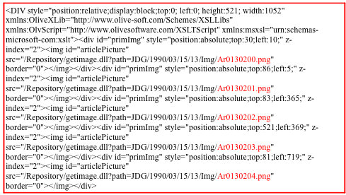 Code from an article in the Archives of Journal de Genève; the colored parts indicate the images the article is made of