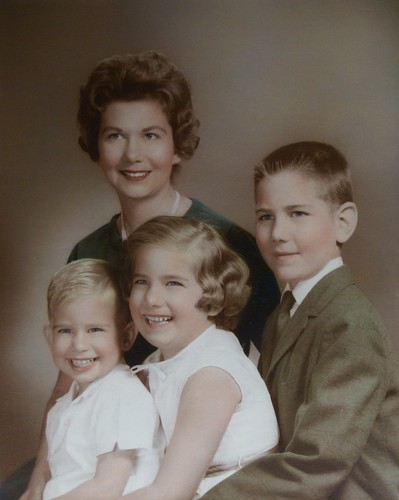 That little baby grew up to marry my grandma (seen here) with my uncle, aunt and dad (far right). Circa 1963.