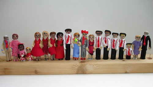 The wedding posse in clothespin form