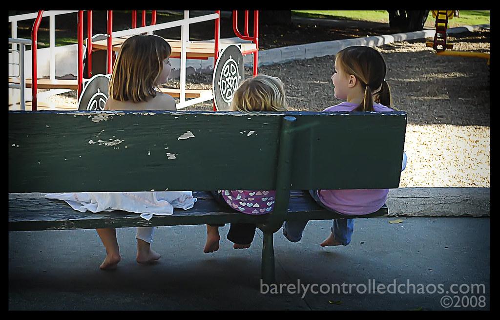 Friendly park bench