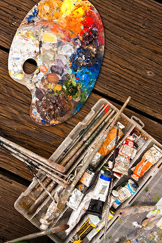 Pallet, Brushes and Paint