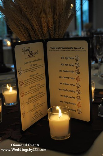 Wedding reception menu cards