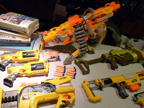 Nerf Dart Gun Arsenal, that includes the Machine Gun (aka The Vulcan)