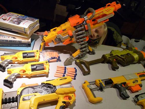 Nerf Dart Gun Arsenal, that includes the Machine Gun (aka The Vulcan)