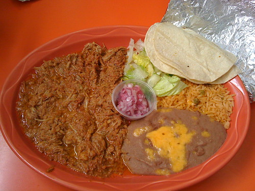 My Cochinita Pibil.  I used more tortillas than the 3 depicted here.