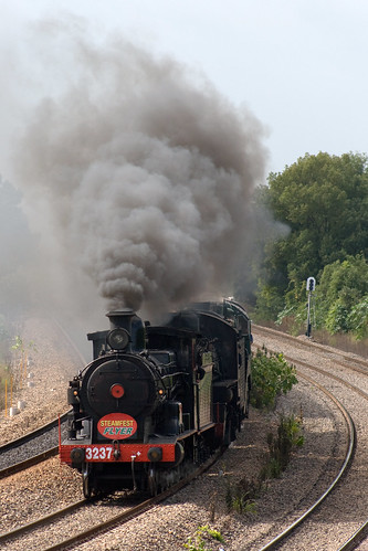 3237 leads 5916 and 3830 into Maitland with the 3801ltd Steamfest Special