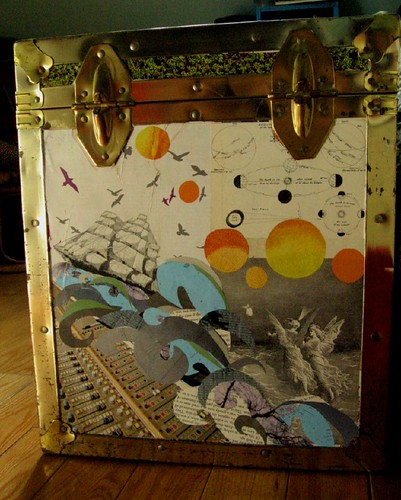 I found a cool chest on the street and collaged it up