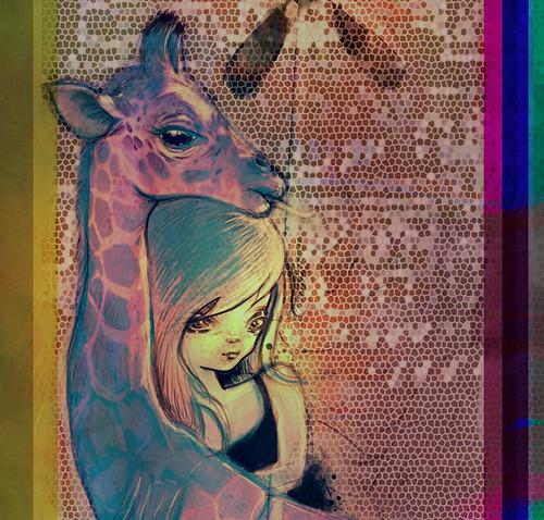 Giraffe Detail from Rainbow Creek - digital collage