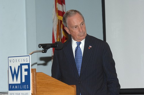 Mayor Bloomberg addressing the party's Mayoral Forum, in July.
