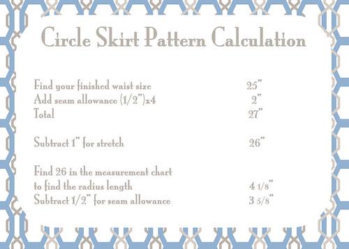 Circle Skirt Pattern Calculation
