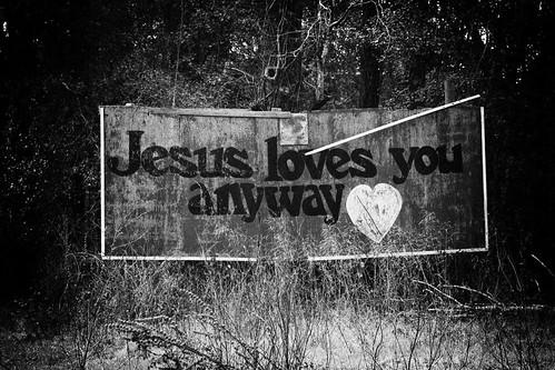 Holga filter on Jesus billboard...