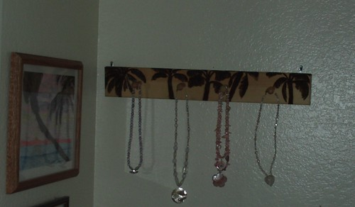 Pyrographic Palm Tree Jewelry Rack