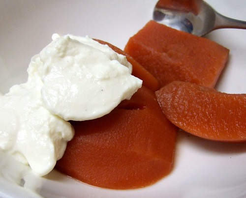 Poached Quinces with Vanilla Yoghurt