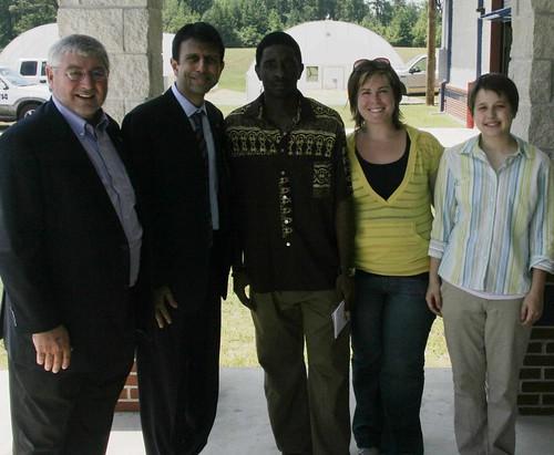 Downsville Mayor Reggie Skain, LA Governor Bobby Jindal, Fabrice Tchouba, Ali Schmierer, Jennifer Reed