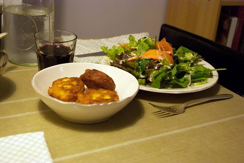 CSA corn fritters and greenmarket salad (close)