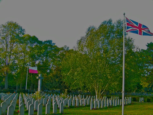 Polish and British Union Flag is proudly flying at Newark Cemetery by you.