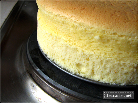 Orange-Vanilla Cotton Soft Cheesecake: The spongey sides