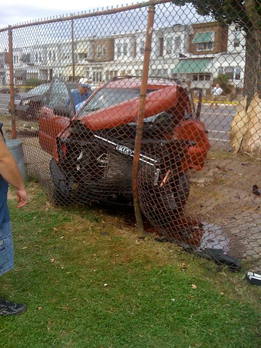 The old guy there is the owner. The car was parked because he was watching football practice. This car probably saved not only his life, but also those who were practicing behind the fence.