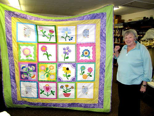 Ina and her quilt that took 18 months to make