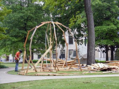 """Fireball"" under construction in Linn Park"