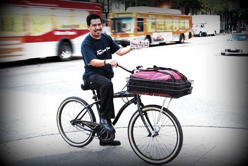 "Pizza Next Door - Downtown Los Angeles - ""Enrique"" Pizza Delivery Man on his bike."