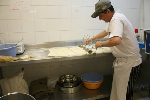 Cutting dough for danishes