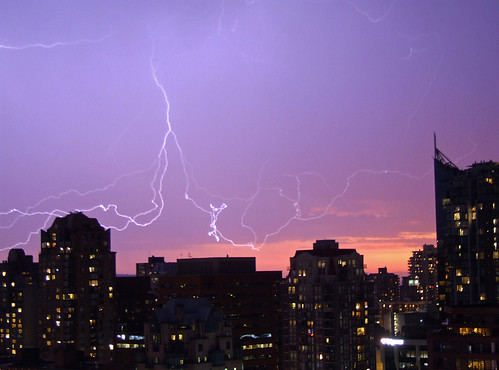Lightning backed with purple-orange sunset in Vancouver 7/25/09 (photo source: