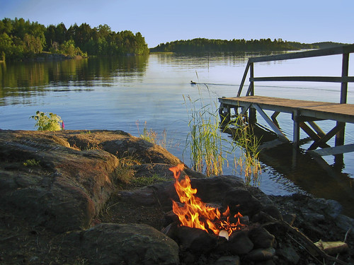 Incidental photo of a perfect sauna evening by Lake Saimaa in Finland