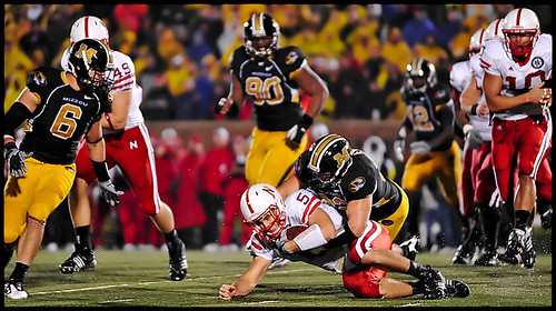 Missouri sophomore linebacker Will Ebner tackles Nebraska junior quarterback Zac Lee during the third quarter.
