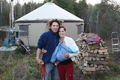 My Toxic Baby - Pete, Arlene and their daughter Meadow in front of their yurt