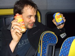 David offered a Belgian treat of canned sausages and chili mayo dipping sauce.
