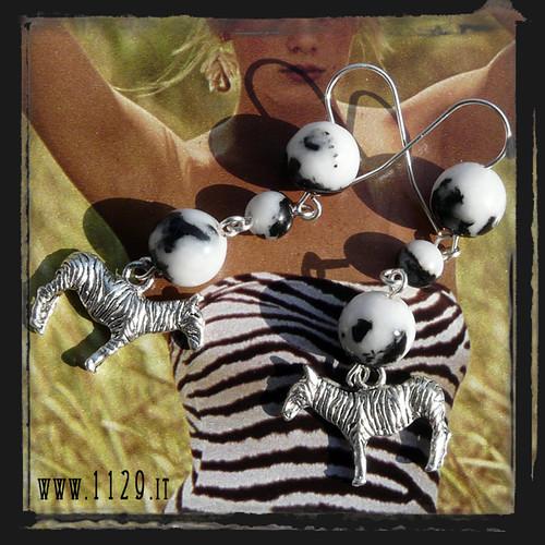 MEZEBR Orecchini bianco nero zebra - Black and white zebra earrings
