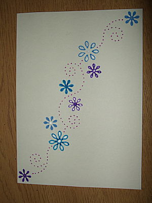 notelet - created via a stencil sez gave me for xmas