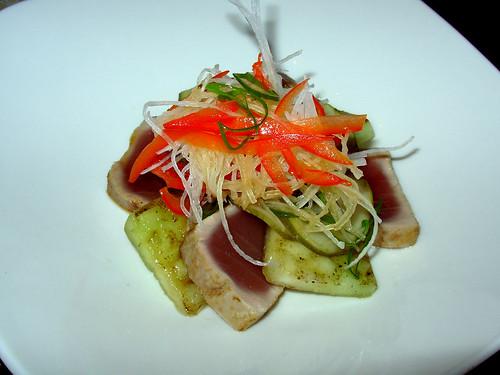 Seared tuna loin, sprouts, daikon