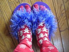 happy Birthday flip-flops w/ socks