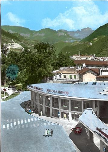 postcard - bolzano - stazione autocorriere - 1965