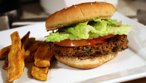 Blackbean Burgers and Sweet Potato Fries
