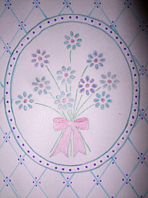 The flowers here were traced from a book, in pencil, with the colouring filled in via colouring pencils. simple, but effective.
