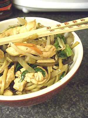 chicken chow mein - from a packet. Even i cheat sometimes. Michiel thought i could do better though, and i have to agree.